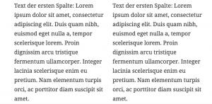 Ausgabe als zweispaltiger Text